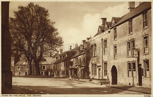 The Square, Stow-on-the-Wold, a market town set in the Cotswold Hills and near Gloucestershire.