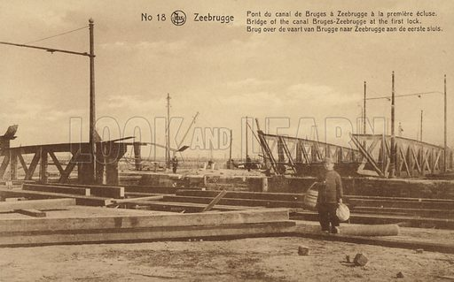 Bridge of the Canal Bruges-Zeebrugge 1st Lock Military postcard showing the ruins of the port of Zeebrugge. Built in 1907, the Germans used it for their U-boats in World War I.