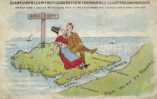Vintage postcard of couple on the Isle Anglesey, Wales. Published circa 1906.