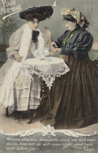 Vintage postcard showing one lady reading tea leaves for another another, titled ' Your fortune'.