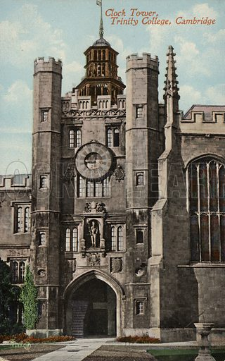 Clock tower, Trinity College, Cambridge, England. The clock, bell and dial plater were first added to the tower in 1610.