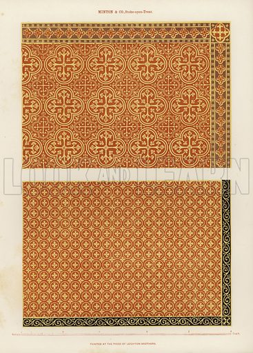 Tile designs by Minton & Co of Stoke on Trent, in the 19th century.