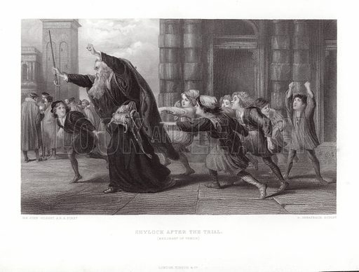 Shylock After the Trial, Merchant of Venice. Published in The Works of Shakespeare edited by Charles Knight 1880.