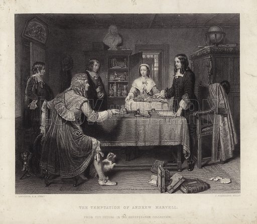The Temptation of Andrew Marvel. Andrew Marvell (1621–1678) was an English poet and politician, depicted here refusing a bribe.