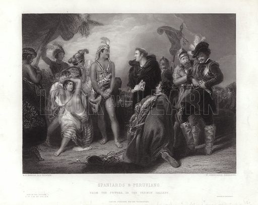 The First Interview between the Spaniards and the Peruvians. The Inca king, Atalhuellpa, discusses Christian beliefs in front of the chaplain of the Spanish conquistador, Francisco Pizarro, during the Spanish conquest of Peru in 1632.