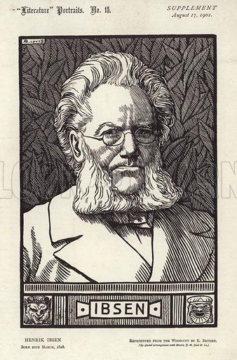Henrik Ibsen (1828-1906). Norwegian playwright. Published in Literature Portraits No.16 supplement, 17 Aungust 1901.
