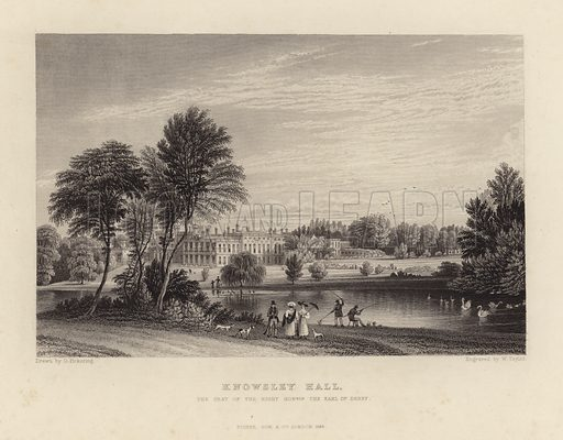 Knowsley Hall, the seat of the Right Honourable Earl of Derby. Developed into a large house in the 18th century, Merseyside, England.