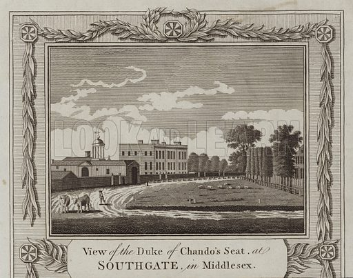 View of the Duke of Chando's Seat, at Southgate, in Middlesex.