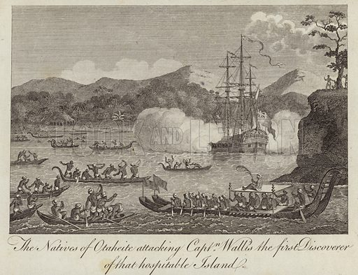 The Natives of Otaheite attacking Captain Wallis the first discoverer of that hospitable island.