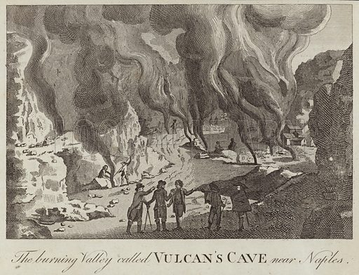 The burning valley called Vulcan's Cave near Naples.