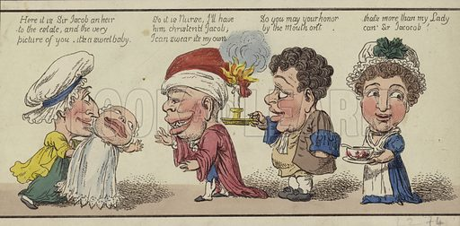 Satirical postcard showing newborn baby of Sir Jacob and implying questionable paternity.
