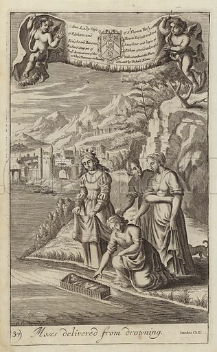 Moses delivered from drowning. Depiction of the moment Moses was found and adopted by the Egyptian Royal family.