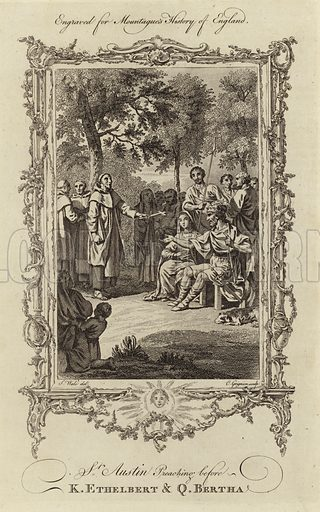 St Austin preaching before K Ethelbert & Q Bertha. Augustine, first Archbishop of Canterbury (from 598). Benedictine prior at a monastery in Rome, and Christian missionary to the English depicted preaching to King Ethelbert and Queen Bertha of Kent in 597.