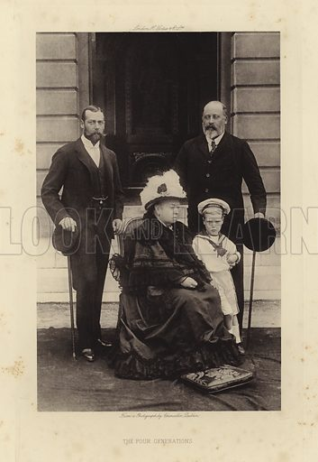 The Four Generations. Photograph of King George V, Queen Victoria, King Edward VII, Prince Edward, Duke of Windsor (King Edward VIII).