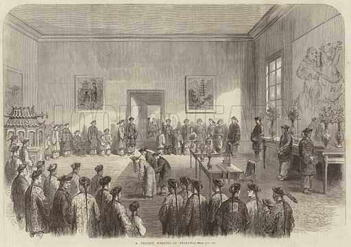 A Chinese wedding at Shanghai. Published in the Illustrated London News on 8 August 1868.
