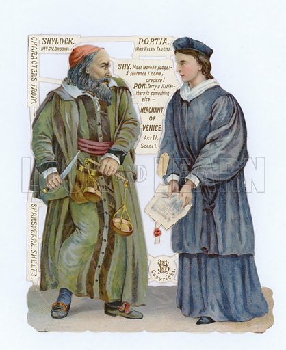 Cutout of Shylock and Portia from The Merchant of Venice