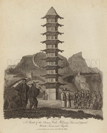 A sketch of the Chinese wall, military post and guard, wacth tower and pagoda. Published on 15 August 1801.