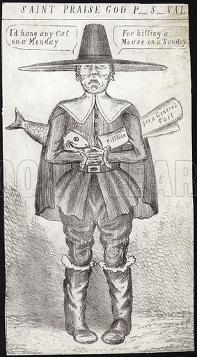 Caricature of a Puritan holding a fish and a petition for a general fast. Hang a cat on a Monday for killing a mouse on a Sunday.