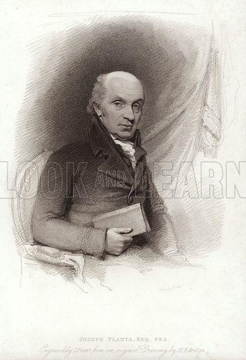 Joseph Planta. British diplomat and politician of Romansh Swiss descent. Engraved by C Picart.