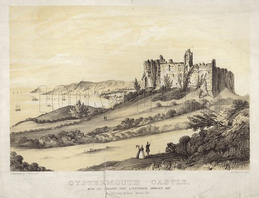 Oystermouth Castle. With its village and lighthouse in Swansea Bay. Published by Ivey and Pearse in 1849.