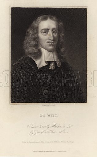 Johan de Witt. Dutch politician. From a picture by Netscher in the posssession of Mr Lenoir at Paris. Under the Superintendant of the Society for the Diffusion of Useful Knowledge.