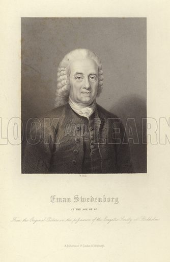 Eman Swedenborg. At the age of 60. From the original picture in the possession of the Exegetic Society in Stockholm.