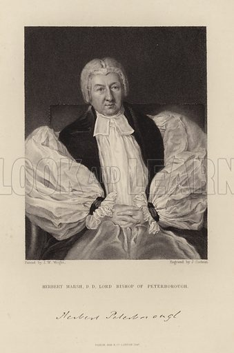Herbert Marsh. Lord Bishop of Peterborough. Published in 1847.
