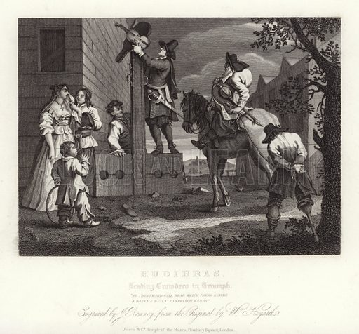 Hudibras by Samuel Butler. Engraved by J Romney after the original by William Hogarth. Leading Crusaders to triumph.