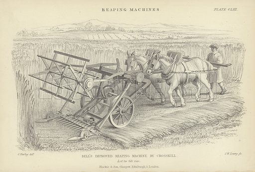 Bell's improved reaping machine by Crosskill. Plate CLIII from Reaping Machines.