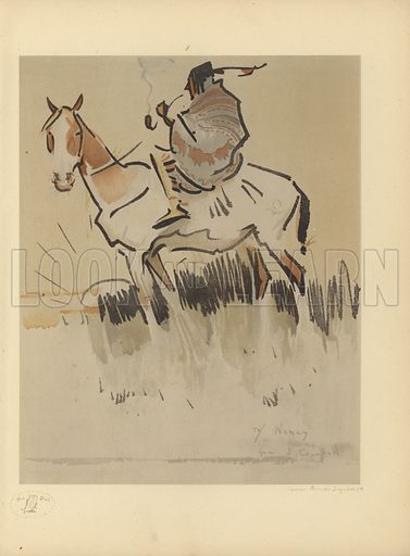 Illustration of a figure on horseback. Published in The Owl: A Miscellany, No 1 May 1919, with illustrations by Vincent Brooks. Published by Martin Secker, London.
