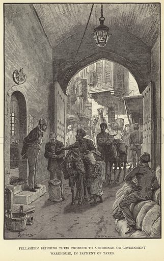 Fellaheen bringing their produce to a shoonah or government warehouse, in payment of taxes. Published in The War in Egypt and the Soudan, an episode in the History of the British Empire, by Thomas Archer; published by Blackie & Son, London, Glasgow, Edinburgh and Dublin.