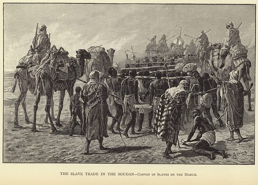 The Slave Trade in the Soudan – convoy of slaves on the march. Published in The War in Egypt and the Soudan, an episode in the History of the British Empire, by Thomas Archer; published by Blackie & Son, London, Glasgow, Edinburgh and Dublin.