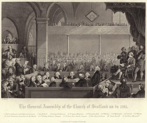 The General Assembly of the Church of Scotland as in 1783. Drawn by D Allan, engraved by T Brown. Published in Religious Ceremonies and Customs of all Peoples of the World, by Bernard Picart and Jean-Frederic Bernard, first appearing in ten volumes, between 1723 and 1743. Published by A Fullarton & Co, London & Edinburgh.