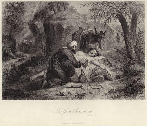 The Good Samaritan (Luke X– 33). Published in an illlustrated family Bible, published by John G Murdoch, London, circa 1880.
