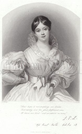 Letitia Elizabeth Landon, English poet and novelist, popularly known by her initials LEL After Daniel Maclise, engraved by J Thomson. Published by Fisher, Son & Co.