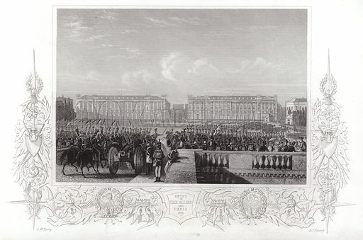 Entry of the Allies into Paris, 1815. Drawn by GW Terry, engraved by DJ Pound.