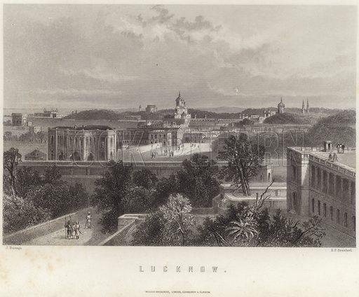 Lucknow, the capital city of the state of Uttar Pradesh, India. Drawn by J Ramage, engraved by EP Brandard. Published by William Mackenzie, London, Edinburgh & Glasgow.