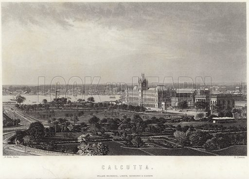 Calcutta, the capital of West Bengal, India. From the photograph by Francis Frith, engraved by R Dawson. Published by William Mackenzie, London, Edinburgh & Glasgow.