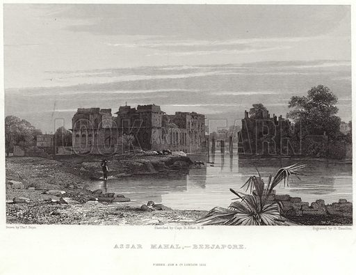 Assar Mahal, Beejapore. Drawn by Thomas Shotter Boys, from the sketch by Captain R Elliot, engraved by G Hamilton. Published by Fisher, Son & Co, London, 1832.