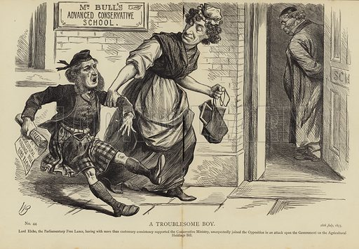 A Troublesome Boy. Lord Elcho, the Parliamentary Free Lance, having with more than customary consistency supported the Conservative Ministry, unexpectedly joined the Opposition in an attack upon the Government on the Agricultural Holdings Bill. No 44, 28th July, 1875.