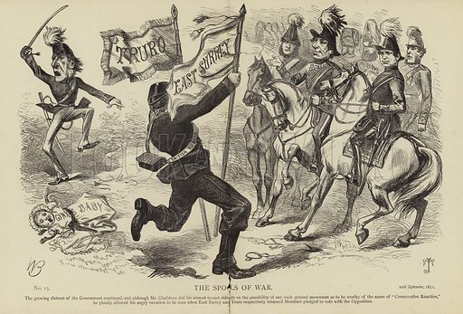 The Spoils of War. The growing distrust of the government continued, and although Mr Gladstone did his utmost to cast ridicule of the possibility of any such general movement as to be worthy of the name of 'Conservative Reaction' he plainly allowed his angry vexation to be seen with East Surrey and Truro respectively returned members pledged to vote with the Opposition. No 15, 20th September, 1871.