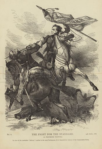 The Fight for the Standard (A Prophectic Picture). In view of the inevitable 'reform' combat in the next Parliament, Judy foretold the victory of the Conservative Party. No 8, 14th October, 1868.