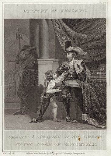 Charles I speaking of his death to the Duke of Gloucester. Drawn by William Marshall Craig. Published in the History of England. Published as the act directs, by C Brightly and I Kinnersley, Bungay.