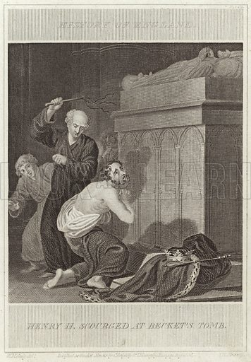 Henry II scourged at Beckett's tomb. Drawn by William Marshall Craig, engraved by I Kennerley. Published in the History of England. Published as the act directs, by C Brightly and I Kinnersley, Bungay, August 1806.