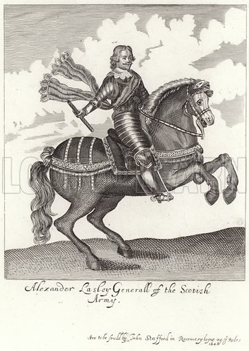 Alexander Leslie, 1st Earl of Leven, Scottish soldier and general of the Scottish Army. Sold by John Stafford in Rosemery Layne, 1642.