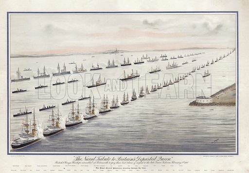 The naval tribute to Britain's departed Queen, British and foreign warships assembled at Portsmouth to pay their last tokens of respect to the late Queen Victoria, February 1st, 1901. The Royal procession steaming through the lines. Drawn by HL Johnson, dated 2 February 1901. Published by Johnson & Logan, 91 Queen Street, Portsmouth.