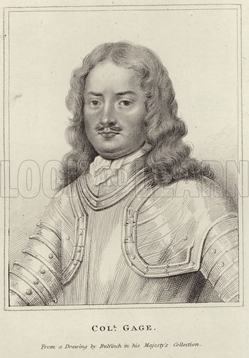 Sir Henry Gage, English Royalist officer in the English Civil War. From a drawing by Bulfinch in His Majesty's Collection.