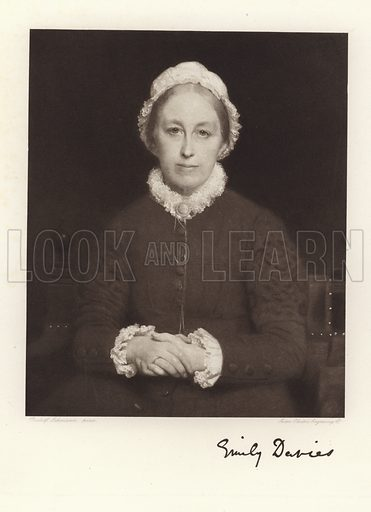 Emily Davies, English feminist, suffragist and campaigner for women's rights. From a portrait by Rudolf Lehmann, engraved by the Swan Electric Engraving Company.