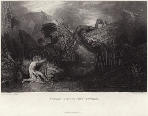 Apollo killing the python. After Joseph Mallord William Turner, engraved by L Stocks. Published by Virtue & Co Limited, London.