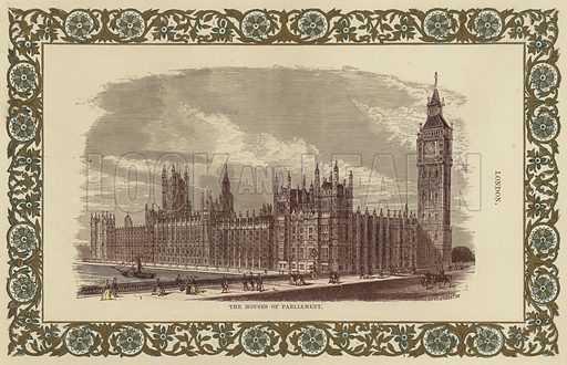 The Houses of Parliament, on the River Thames in London.